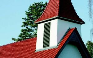 Фрагменты крыши колокольни с использованием черепиц ретро-профиля