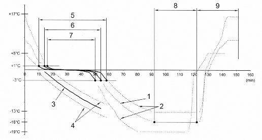 Диаграмма температур (с допустимым расхождением) для испытаний черепицы: 1 - температура внутри черепицы с периодом обледенения – уровнем охлаждения; 2 - допустимое отклонение температуры внутри черепицы; 3 - температура воздуха; 4 - допустимое колебание температуры воздуха; 5 - максимум 48 мин = 5 K/ч; 6 - в среднем 40 мин = 6 K/ч; 7 - минимум 34 мин = 7 К/ч; 8 - минимум 30 мин; 9 - 30 мин