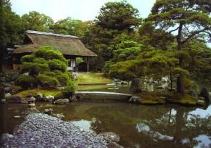 Сад в Королевском дворце в Катсуро, Япония, 1625 г. Архитектура и природа все еще составляют одно целое