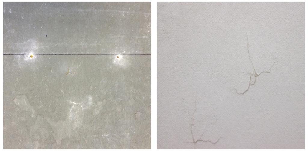 На рисунке отображены повреждения внешней и внутренней стороны гипсовой подложки в случае, когда мембрана повреждена.
